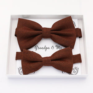 Brown cinnamon Bow tie set for daddy and son, Daddy and me gift set, Grandpa and me, Father son matching, Kids bow tie, daddy and me bow tie gift