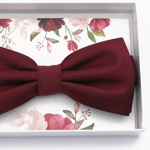Burgundy bow tie Best man Groomsman Man of honor ring bearer request gift, Kids adult bow, Adjustable Pre tied High quality, Birthday Congrats