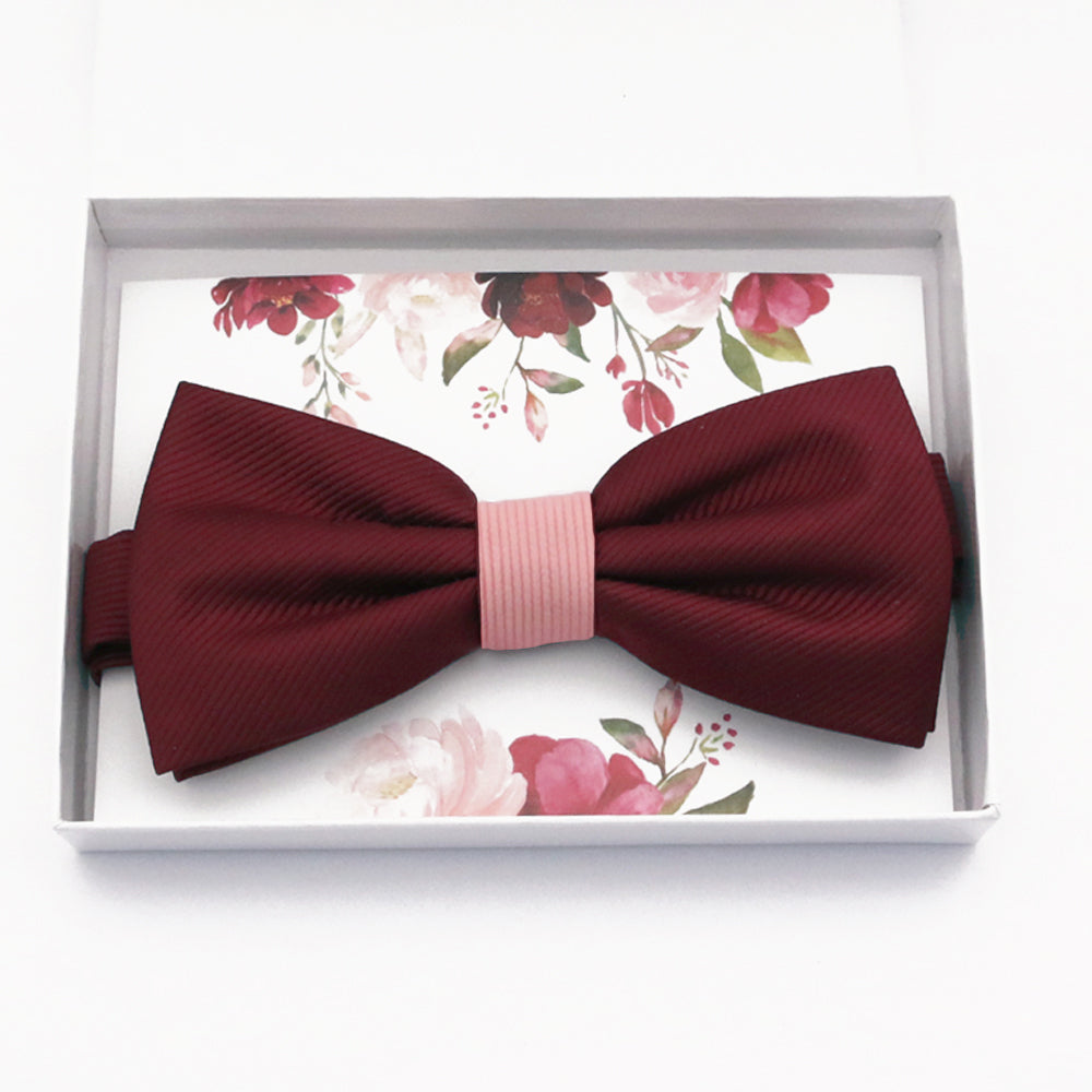Burgundy blush bow tie Best man Groomsman Man of honor ring bearer request gift, Kids adult bow, Adjustable Pre tied High quality, Birthday Congrats