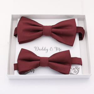 Burgundy Bow tie set daddy son, Daddy and me gift, Grandpa and me, Father son matching, Kids bow tie, Kids adult bow tie, high quality