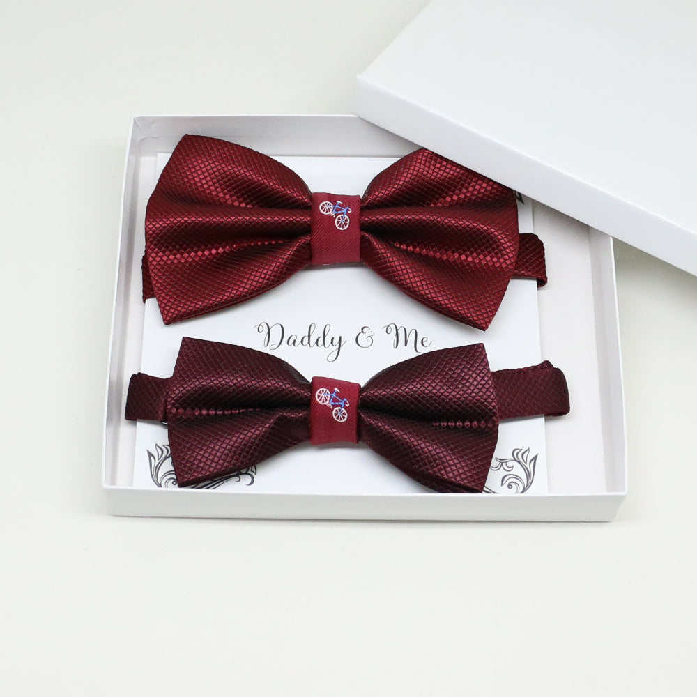 Burgundy Bow tie set for daddy and son, Daddy and me gift set, Grandpa me, Father son match, Burgundy kids bow tie, handmade bow tie