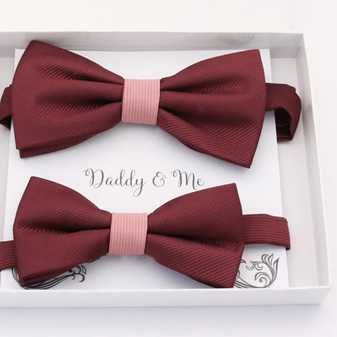 Burgundy blush Bow tie set daddy son, Daddy and me gift, Grandpa and me, Father son matching, Kids bow tie, Kids adult bow tie, high quality