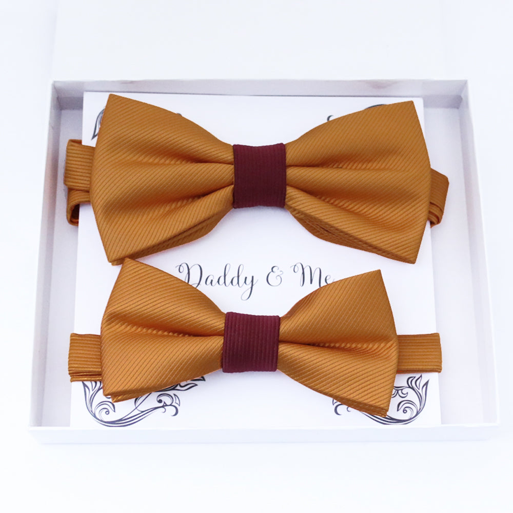 Burnt orange burgundy Bow tie set daddy son, Daddy Grandpa and Me Father son matching, Kids adult bow tie, Adjustable pre tied bow High quality