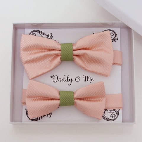 Blush olive green bow tie set for daddy and son, Daddy and me gift set, Grandpa and me, Father son matching, Toddler bow tie, handmade bow