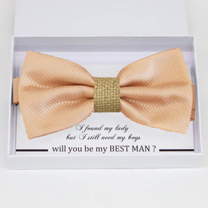 Champagne burlap bow tie Best man Groomsman Man of honor Ring Bearer bow tie request gift, Kids bow tie, Birthday congrats cards