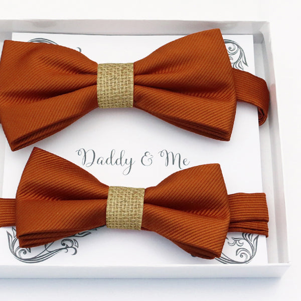 Cinnamon burlap Bow tie set daddy son, Daddy and me gift, Grandpa and me, Father son matching, Kids bow tie, Kids adult bow tie, high quality