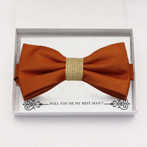 Cinnamon bow tie Best man Groomsman Man of honor ring bearer request gift, Kids adult bow, Adjustable Pre tied High quality, Birthday Congrats