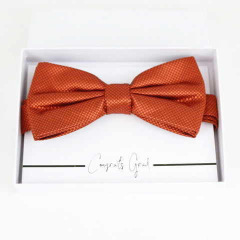 Rust copper bow tie Best man Groomsman Man of honor Ring Bearer bow tie request gift, Kids bow Birthday congrats cards, Adjustable Pre tied