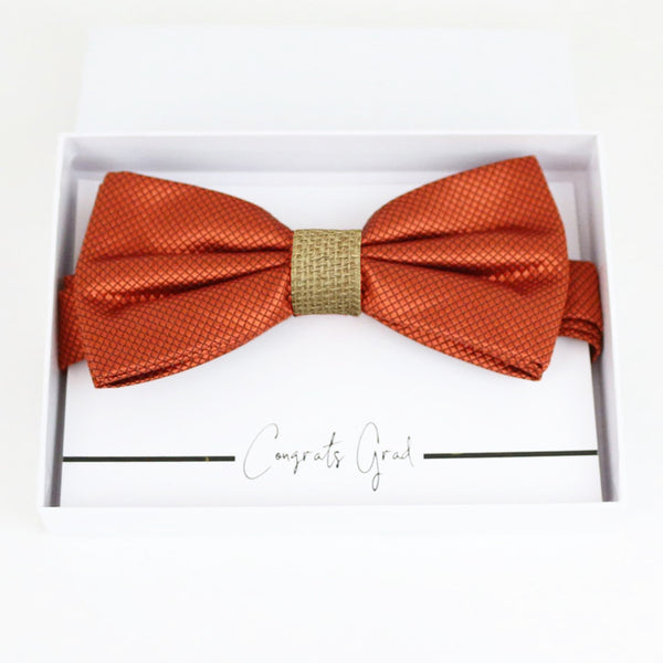 Rust copper burlap bow tie Best man Groomsman Man of honor Ring Bearer bow tie request gif Birthday congrats cards, Adjustable Pre tied
