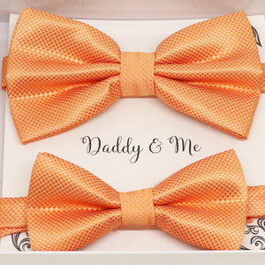 Pale orange Bow tie set for daddy and son, Daddy and me bow tie gift set, Grandpa and me, orange Kids Toddler bow, Pale orange bow tie