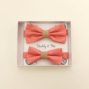 Coral burlap Bow tie set for daddy and son, Daddy me gift set, Grandpa and me, Father son match, Coral bow tie for kids bow tie, handmade