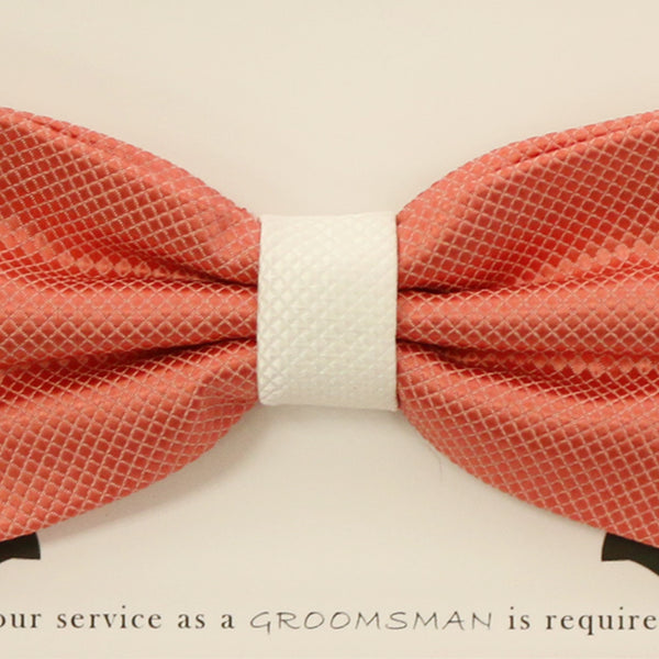 Coral and white handmade bow tie, Best man gift , Groomsman bow, Man of honor, ring bearer bow tie, handmade birthday gift, Congrats grad