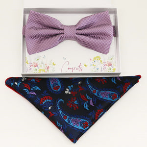 Dusty lavender bow tie  Pocket Square, Best man Groomsman Man of honor birthday gift, Congrats grad, handkerchief, paisley