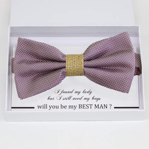 Dusty Purple burlap bow tie Best man Groomsman Man of honor Ring Bearer bow tie request gift, Kids bow tie, Birthday congrats cards