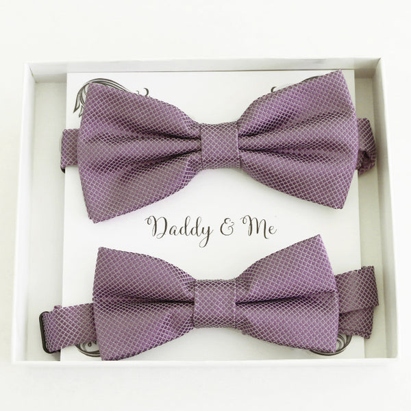 Dusty purple Bow tie set for daddy and son, Daddy me gift set, Father son matching bow tie, Handmade bow, Dusty lavender kids bow tie
