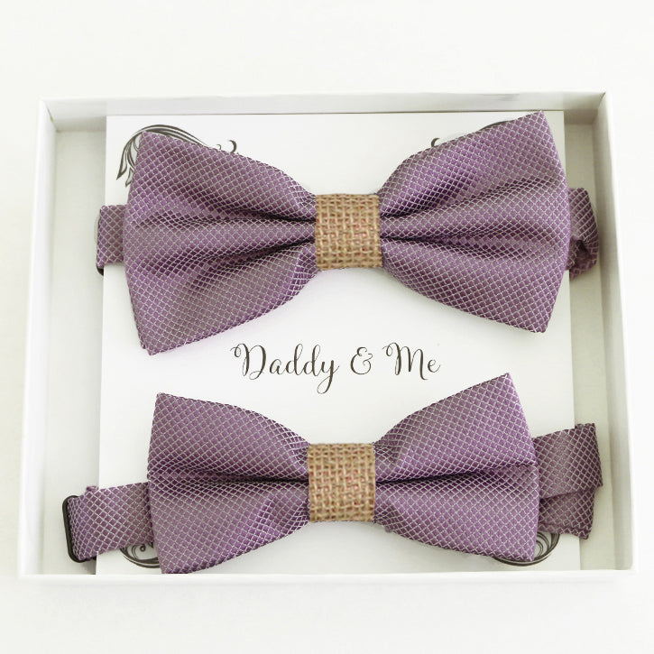 Dusty purple burlap Bow tie set for daddy and son, Daddy me gift set Grandpa and me Father son match bow Adjustable pre tied Handmade bow