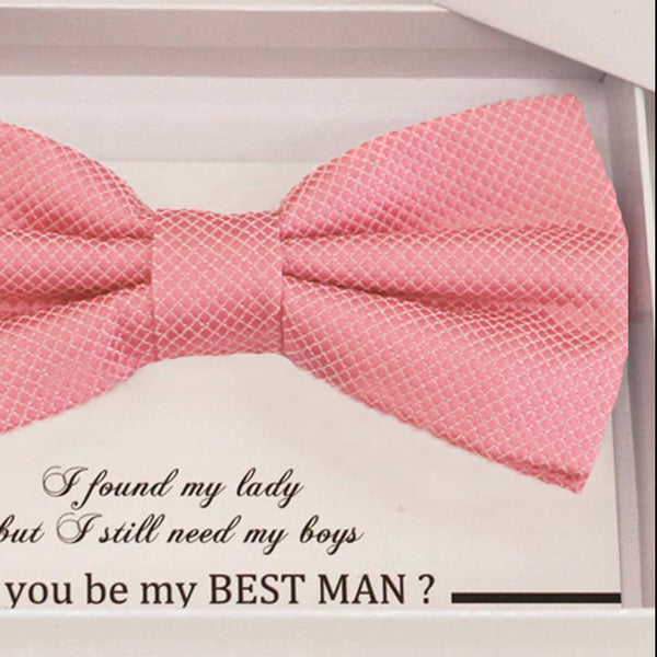 Dusty rose bow tie Best man Groomsman Man of honor Ring Bearer bow tie request gift, Kids bow Birthday congrats cards, Adjustable Pre tied