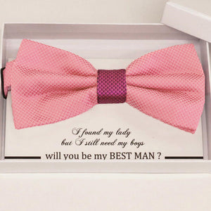 Dusty rose bow tie Best man Groomsman Man of honor Ring Bearer bow request gift, Adjustable Pre tied , Birthday congrats cards handmade bow