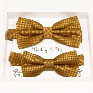 Gold Bow tie set for daddy and son, Daddy me gift set, Grandpa and me, Father son match bow, Gold kids bow tie,Gold bow tie, Ring bearer bow