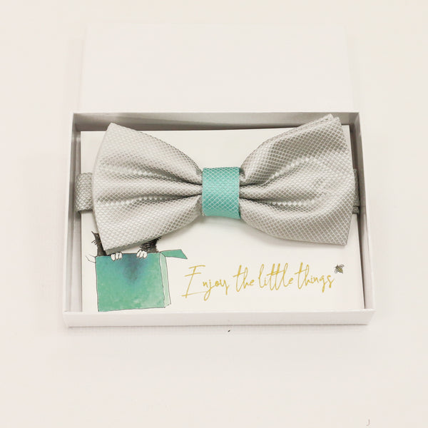 Gray and turquoise handmade bow tie, Best man gift , Groomsman bow, Man of honor, ring bearer bow tie, handmade birthday gift, Congrats grad