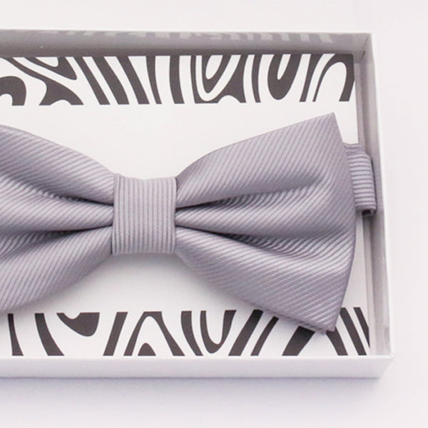 Gray bow tie Best man Groomsman Man of honor ring bearer request gift, Kids adult bow, Adjustable Pre tied High quality, Birthday Congrats