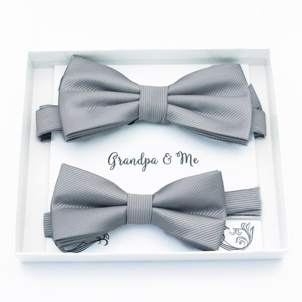 Gray Bow tie set daddy son, Classic blue Daddy and me gift, Grandpa and me, Father son matching, Kids bow tie, Kids adult bow tie, high quality