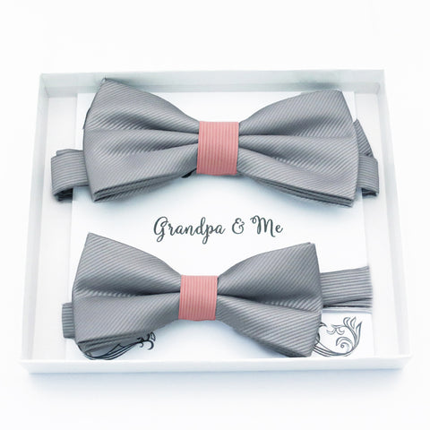 Gray blush Bow tie set daddy son, Daddy and me gift, Grandpa and me, Father son matching, Kids bow tie, Kids adult bow tie, High quality