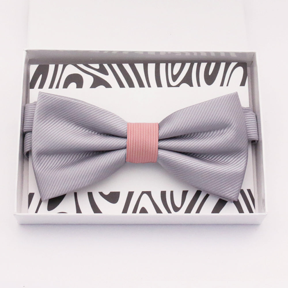 Gray and blush bow tie Best man Groomsman Man of honor ring bearer request gift, Kids adult bow, Adjustable Pre tied High quality, Birthday Congrats