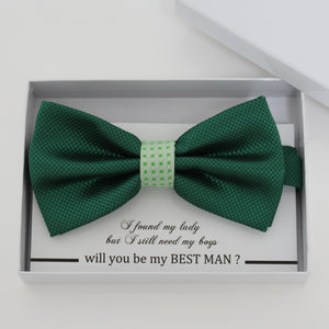 Green bow tie, Best man request gift, Groomsman bow tie, Man of honor gift, Best man bow, best man gift, handmde bow, man of honor request