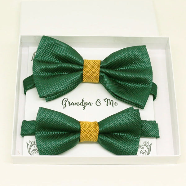 Emerald green and gold Bow tie set for daddy and son, Daddy and me bow tie gift set, Grandpa and me, Emerald green and gold Kids Toddler bow