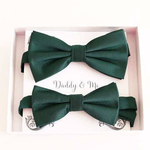 Emerald green Bow tie set for daddy son Daddy me gift set Father son match daddy me bow Handmade kids bow Adjustable pre tied bow, High quality