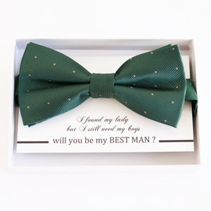 Green bow tie Best man Groomsman Man of honor ring bearer request Christmas New year gift, Kids adult bow, Adjustable Pre tied High quality