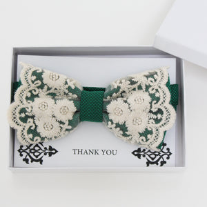 Emerald Green lace bow tie, Best man request gift, Groomsman bow tie, Man of honor gift, Best man bow, man of honor, Handmade Thank you gift