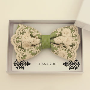 Green lace bow tie,  Handmade lace bow tie, Thank you gift, Pre-Tied Bow Tie, best man bow tie, ring bearer bow tie gift