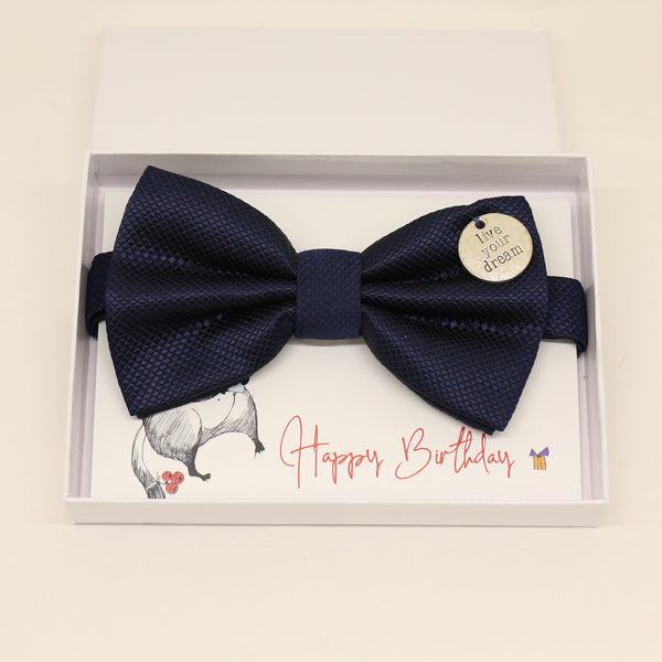 Navy bow tie, Best man request gift, Groomsman bow, Man of honor gift, Best man bow, Happy Birthday, Congrats, Congrats grad Live your dream