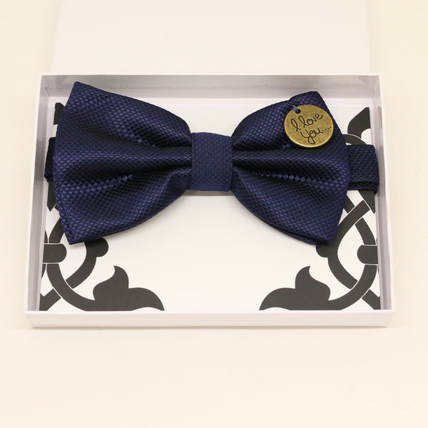 Navy bow tie, Best man request gift, Groomsman bow, Man of honor gift, Best man bow, Happy Birthday, Congrats, Congrats grad, I love you