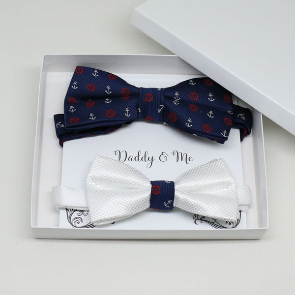 Navy anchor bow tie set for daddy son, Daddy me gift set, White kids bow tie , Father son match, beach wedding, handmade, some thing blue