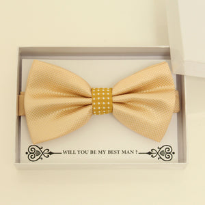Ivory mustard bow tie, Best man request gift, Groomsman Ivory bow tie, Ring Bearer Ivory bow tie, Man of honor gift, baby announcement