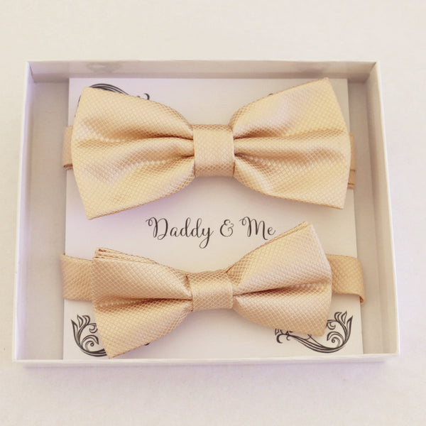 Ivory Bow tie set for daddy and son Daddy me gift set Father son match Handmade Ivory kids bow Adjustable pre tied bow