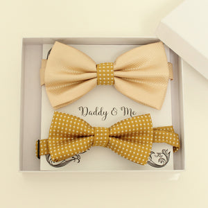 Ivory and mustard bow tie set for daddy and son, Daddy and me gift set, Father son matching, Mustard kids bow tie, daddy me bow, handmade