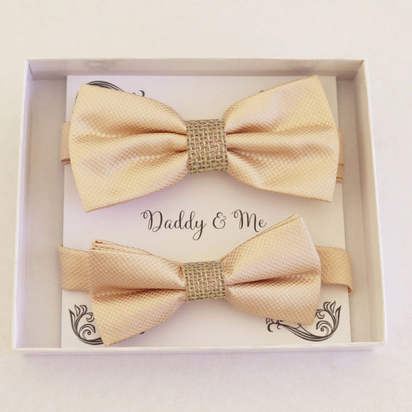 Ivory burlap Bow tie set for daddy and son Daddy me gift set Father son match Handmade Ivory kids bow Adjustable pre tied bow