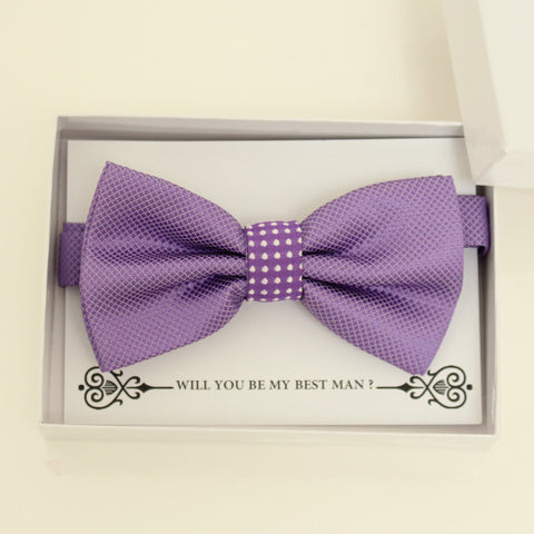 Lavender bow tie, Best man request gift, Groomsman bow tie, Man of honor gift, Best man bow tie, man of honor, handmade bow tie