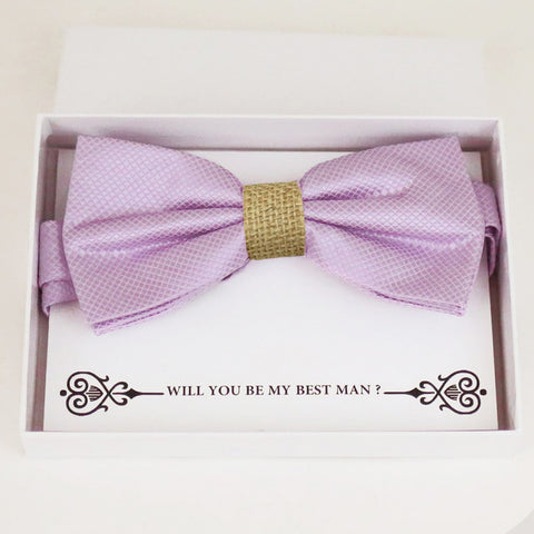 Lilac burlap bow tie Best man Groomsman Man of honor Ring Bearer bow tie request gift, Kids bow Birthday congrats cards, Adjustable Pre tied