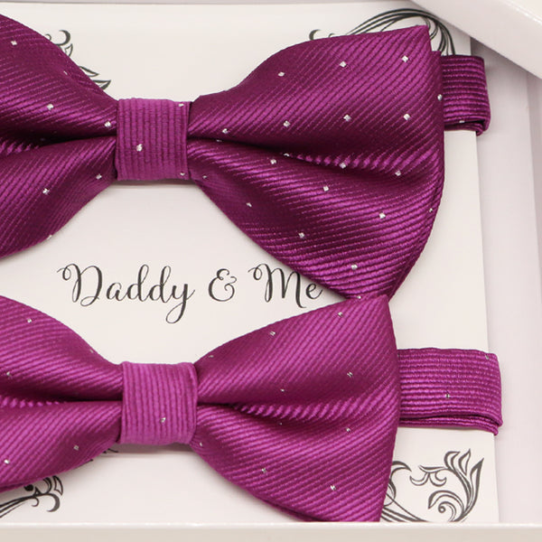 Magenta Bow tie set for daddy and son, Daddy and me gift set, Grandpa and me, Father son matching, Toddler bow tie, daddy me bow tie gift