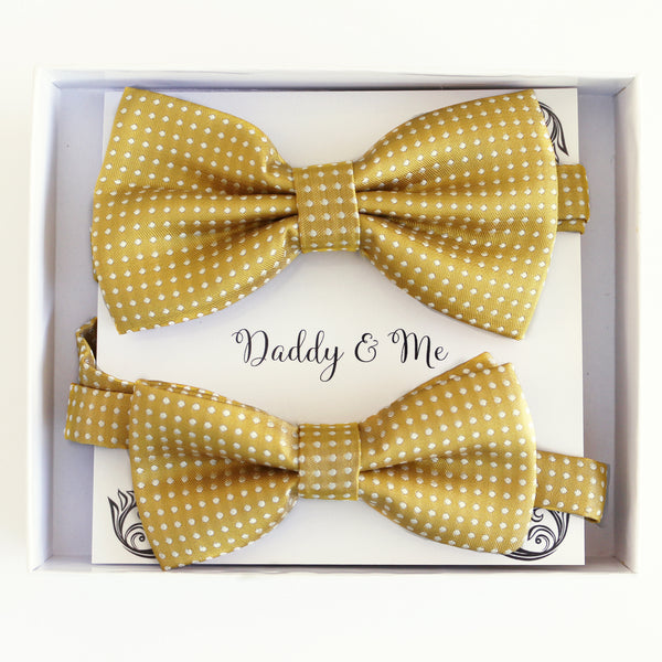 Mustard Bow tie set for daddy and son, Daddy me gift set, Grandpa and me, Father son matching, Toddler bow tie, daddy me bow tie gift