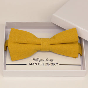 Mustard yellow bow tie, Best man request gift, Groomsman bow tie, Man of honor gift, Best man bow tie, best man gift, man of honor request