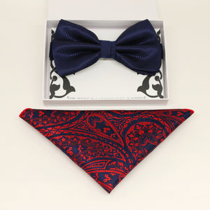 Navy bow tie & paisley Pocket Square, Best man Groomsman Man of honor ring breaer bow, birthday gift, Congrats grad, Navy Red handkerchief