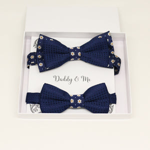 Navy flower Bow tie set for daddy and son, Daddy me gift set, Grandpa and me, Father son match, Toddler kids bow, Some thing blue, Navy bow