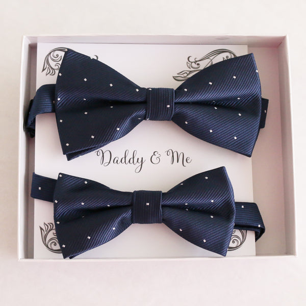 Navy Bow tie set for daddy son Daddy me gift set Father son match daddy me bow Handmade kids bow Adjustable pre tied bow, High quality