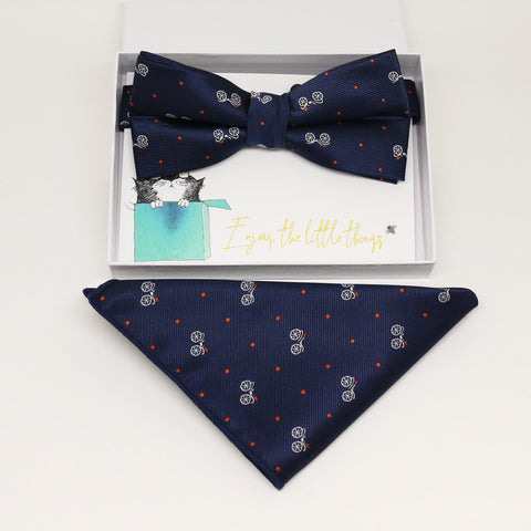 Navy bow tie & Pocket Square, Best man Groomsman Man of honor ring breaer bow, birthday gift, Congrats grad, handkerchief, Pocket Square